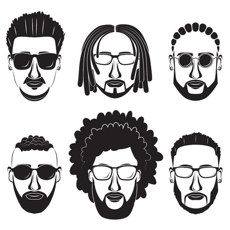 Hipsters bearded African men with different hairstyles, mustaches and beards.
