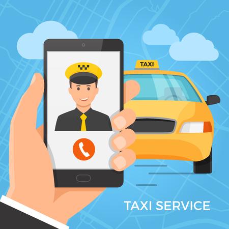 タクシー サービスのコンセプトです。画面に陽気なタクシー ドライバーがスマート フォンを持っている手。ベクトルの図。  イラスト・ベクター素材