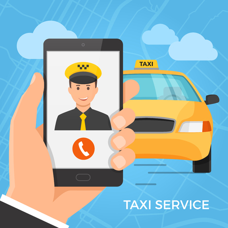 Taxi service concept. Hand holding smartphone with cheerful taxi driver on the screen. Vector illustration.