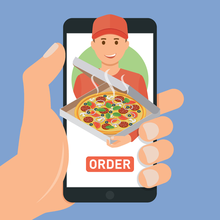 ebuy: Pizza delivery service. E-buy pizza using a smartphone
