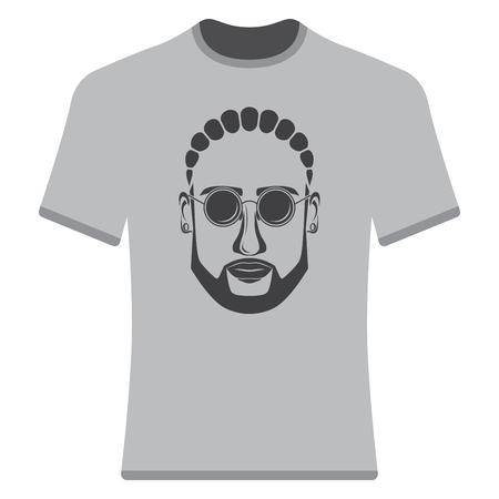 Imprime camisetas con la imagen de hipsters, afro-hipsters y barbudos. Ilustración de vector
