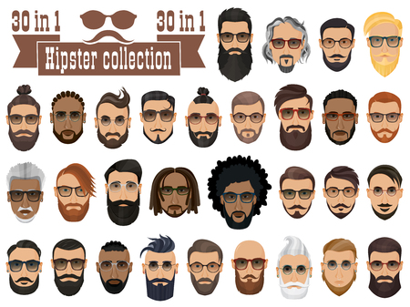 dapper: Superset of 30 hipsters bearded men with different hairstyles, mustaches, beards isolated on white background.
