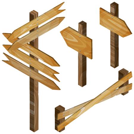 Brown fence, wooden signboards, arrow sign. Vector set.
