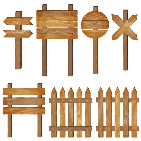 Fence, wooden signboards, arrow sign. Vector set.