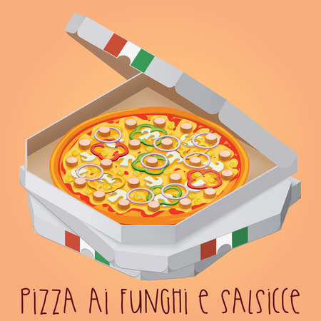 The real Pizza ai funghi e salsicce. Pizza with mushrooms and sa