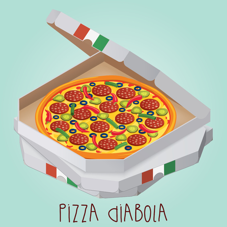 The real Pizza Diabola. Italian pizza in box. Diabolical. Diabo. Ilustração