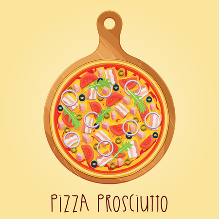 margherita: The real Pizza Prosciutt on wooden board