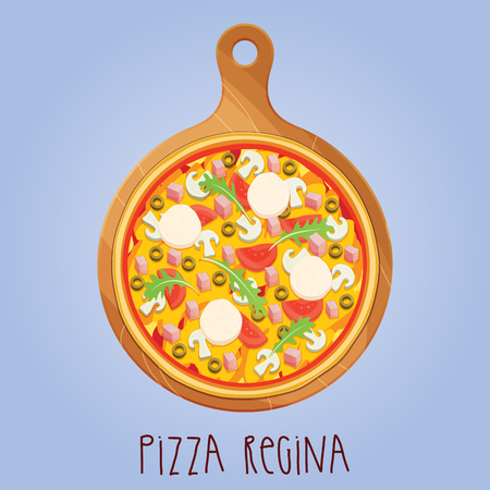The real Pizza Regina on wooden board