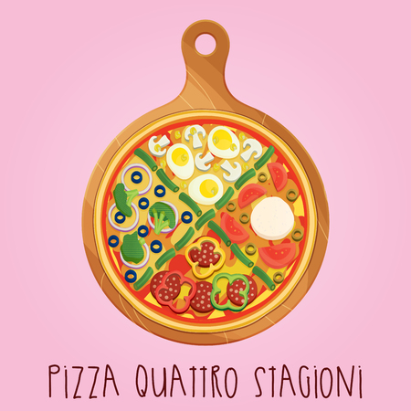 The real Pizza quattro stagioni on wooden board