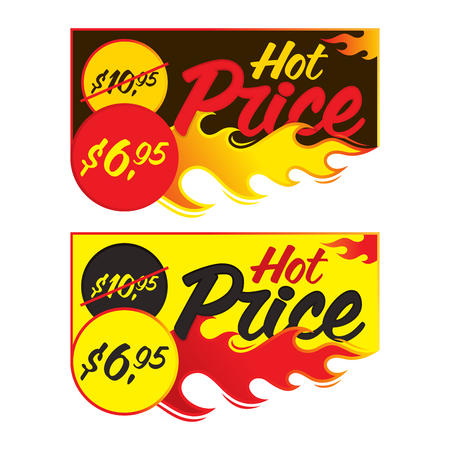 Hot price vector flaming labels stickers banners symbols templates designs. Vector illustration Illustration