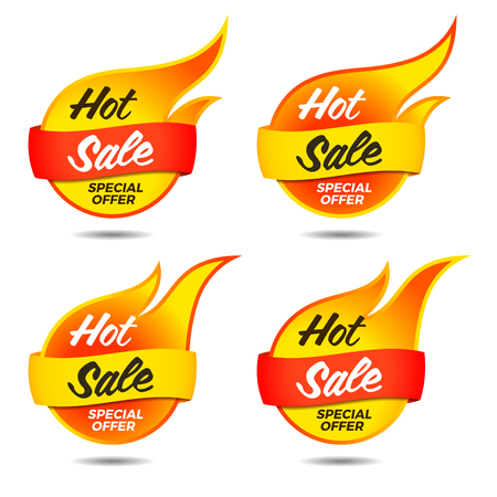Vector set of hot sale vector flaming labels stickers banners symbols templates designs tags