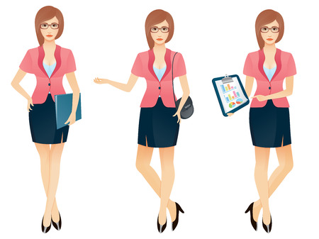Cartoon sexy young business woman or secretary in various poses. Vector illustration. Illustration