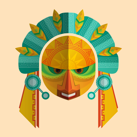 Image of a mask of the Mayans with ethnic ornament. Vector illustration