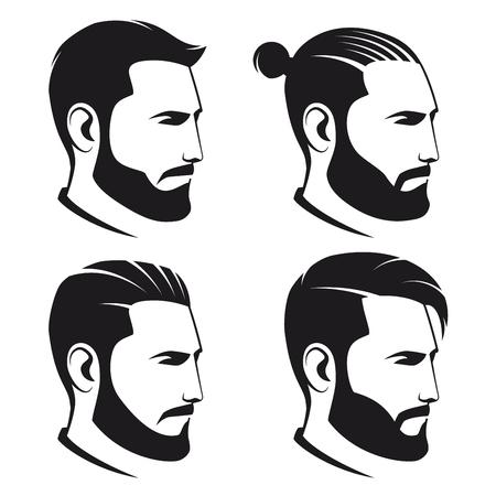 白い背景に分離したひげを生やした男性ヒップスターのセット。ベクトルの図。  イラスト・ベクター素材