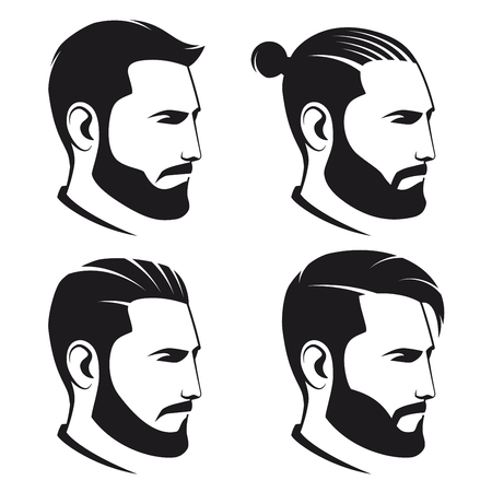 Set of bearded men hipsters isolated on white background. Vector illustration.
