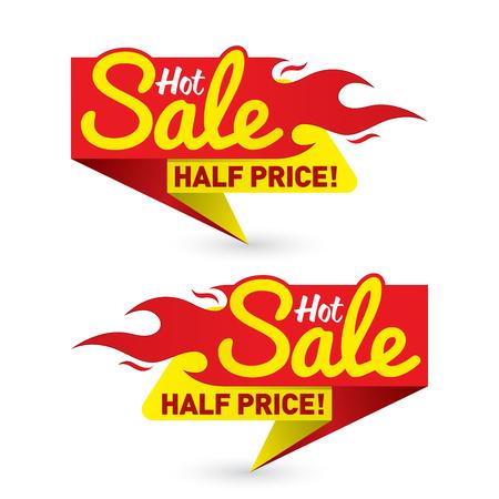 熱い販売価格提供取引ラベル テンプレート  イラスト・ベクター素材