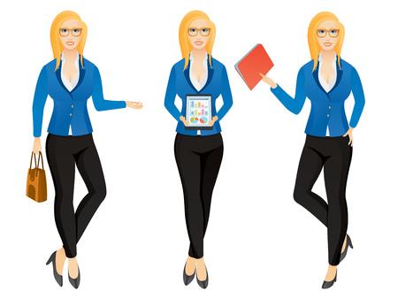 Cartoon business woman or secretary in various poses.