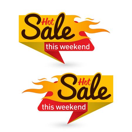Hot sale price offer deal labels templates Illustration