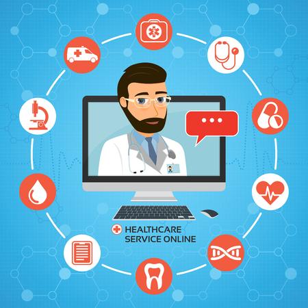 Service de santé en ligne. Concept de consultation médicale avec fem Vecteurs