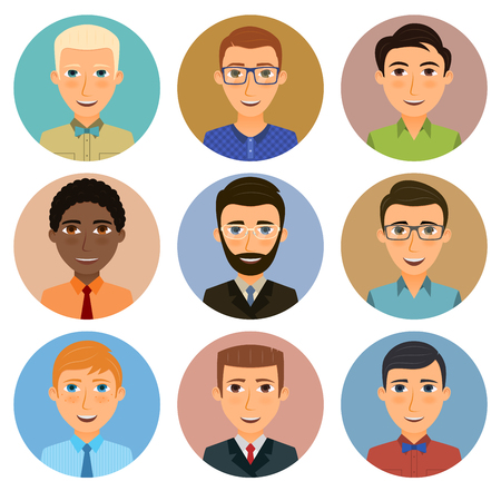 Collection of avatars of various young men characters. Illustration