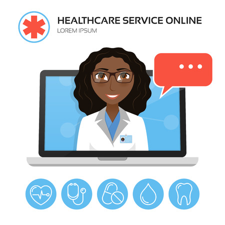 Healthcare service online. Medical consultation concept with african american or indian female doctor on the laptop screen. Vector illustration.