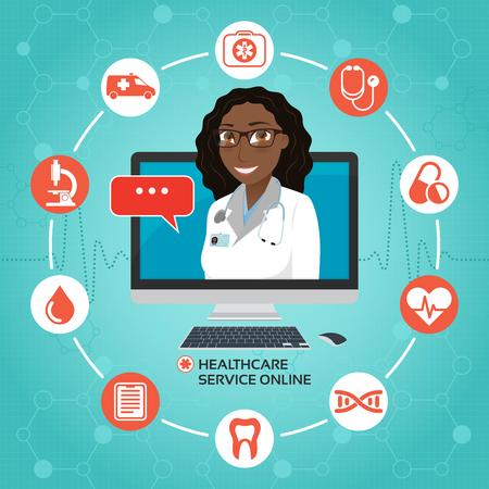 オンライン医療サービス。コンピューターの画面上のアフリカ系アメリカ人またはインド女性医師診療コンセプトです。ベクトルの図。
