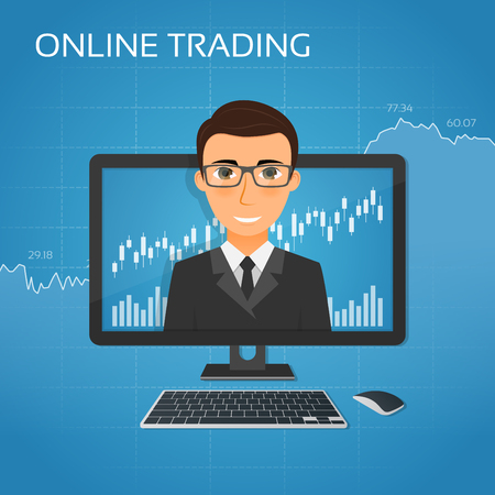 stock exchange brokers: Trading online concept with businessman on the monitor screen.