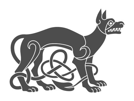 Ancient celtic mythological symbol of wolf, dog. Vector knot orn Ilustração