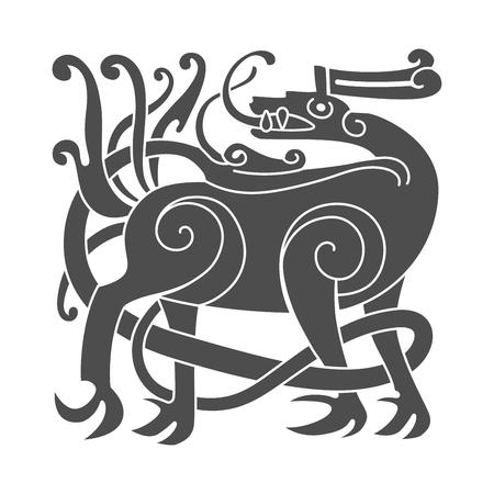 Ancient celtic mythological symbol of deer. Vector knot ornament