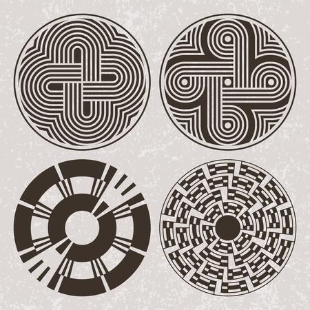 North America Indians design graphic art. Tattoo and print set Illustration