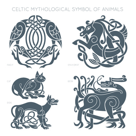Antiguo símbolo mitológico celta de los animales. Vector illustrati Foto de archivo - 78483230