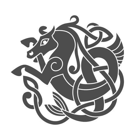 Altes keltisches mythologisches Symbol des Seepferdes Standard-Bild - 78510182