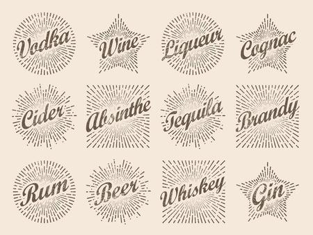 Retro design sunburst label, radiant starburst for vodka wine ci