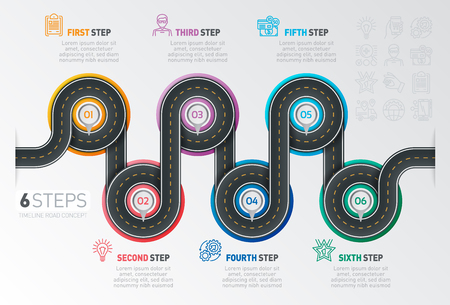 Navigatiekaart infographic 6 stappen tijdlijn concept. Bochtige weg. Vector illustratie.