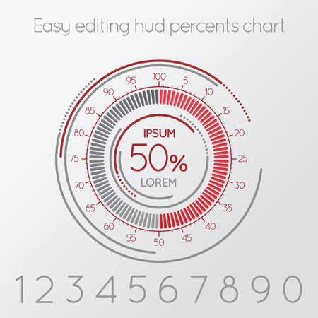 Futuristic digital percentage easy editing scale. Infographics element. Vector illustration. Illustration