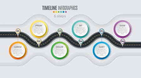 Navigation map infographic 6 steps timeline concept. Winding road. Vector illustration.