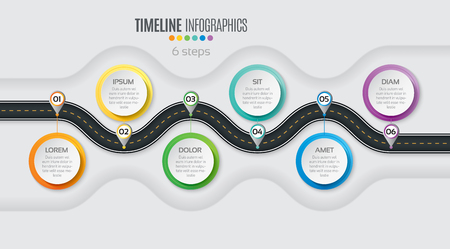 Navigation map infographic 6 steps timeline concept. Winding road. Vector illustration.