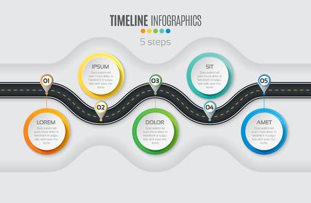ナビゲーション地図インフォ グラフィック 5 手順タイムラインの概念。ワインディング ロード。ベクトルの図。