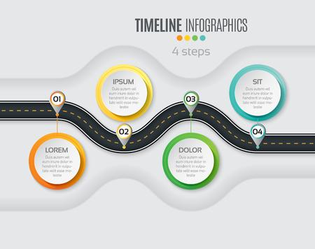 Navigation map infographic 4 steps timeline concept. Winding road. Vector illustration.