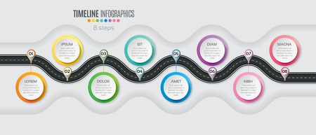 Navigation map infographic 8 steps timeline concept. Winding road. Vector illustration.