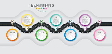 Navigation map infographic 7 steps timeline concept. Winding road. Vector illustration. Vectores