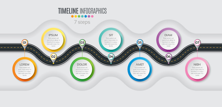 Navigation map infographic 7 steps timeline concept. Winding road. Vector illustration. 矢量图像