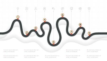 Navigation map infographic 9 steps timeline concept. Winding road. Vector illustration.