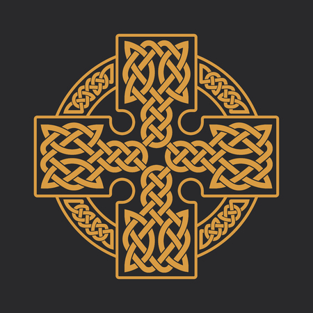 Vector Keltisch kruis. Etnische versiering. Geometrisch ontwerp. T-shirt bedrukking