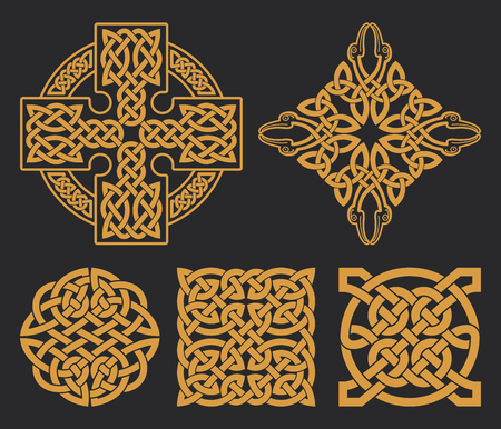 Vector celtic cross and knot set. Ethnic ornament. Geometric design. T-shirt print.