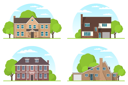 suburban: Set of frontview of english style suburban private houses. Flat design. Vector illustration.