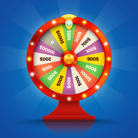 Realistic retro spinning wheel of fortune or luck