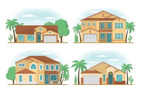 Set of Frontview of USA Arizona style suburban private houses. F