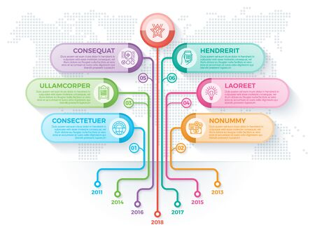 Tree infographics template with 8 branches options and root