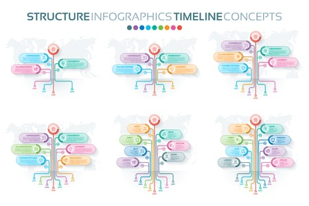 Set of tree infographics templates with branches options and roo